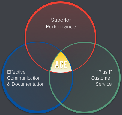 Circle chart: Superior Performance, Effective Communication & Documentation, and Plus 1 Customer Service combine to form ACE